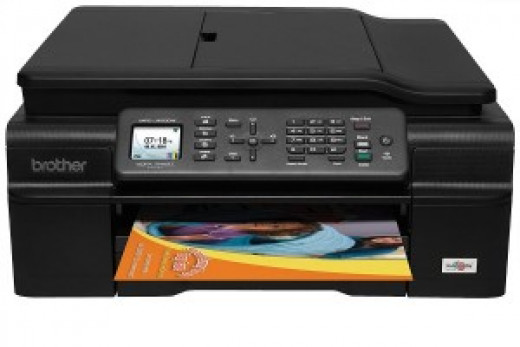 Even an under $100 all-in-one option like the Brother MFCJ50DW inkjet printer is loaded with features. Black replacement cartridges can be found for under $6.