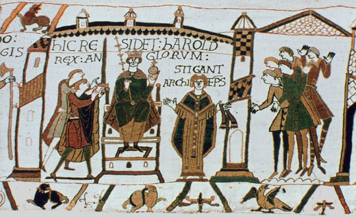 Harold's coronation according to the Bayeux Tapestry as commissioned by William's half-brother Bishop Odo