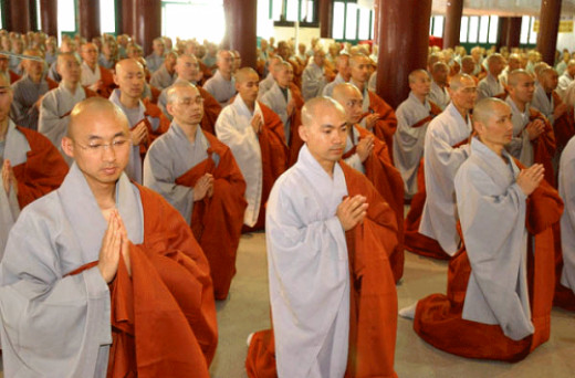 Buddhists priests or monks.