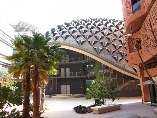Concept Building in Masdar City.  Source: http://www.flickr.com/photos/58978138@N00/6770559847/