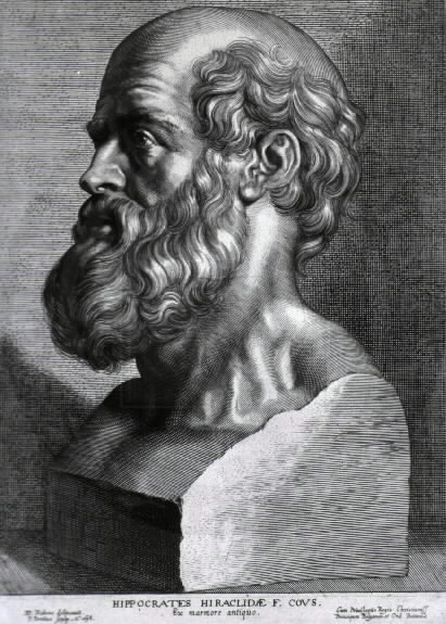 Hippocrates, engraving by Peter Paul Rubens, 1638 PD-US via wikipedia
