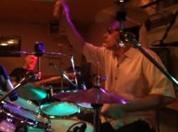 Jim Watkins on the drum kit