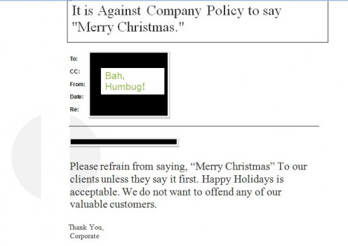 Memo Concerning Christmas Greetings.
