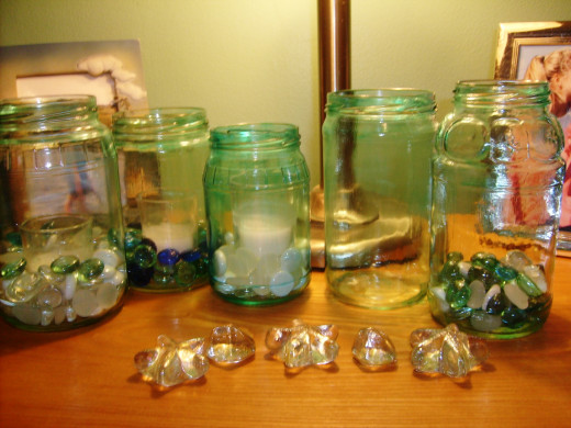 A variety of jar types makes for an interesting display.