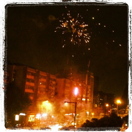 The view of fireworks from across the street of our apartment in downtown Nanjing.