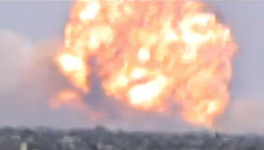 This is moments after impact outside Homs, Syria