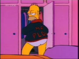 "Homer ""Mr. Plow"" Simpson sensually displaying his jacket."