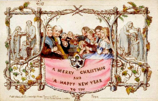 Vintage Greeting Card Showing Merrymaking at Christmas