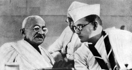 Subhash Chadra Bose (right) with Gandhi