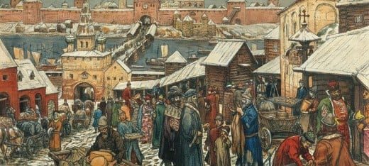 Holmgard market, where foreign traders rested and sold their goods - looking down the slope towards the River Volkhov with the citadel across the river within the old town