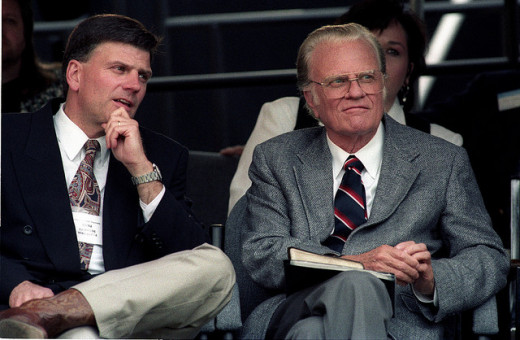 Father and son. Franklin Graham, son, left, and his dad, Rev. Billy Graham.
