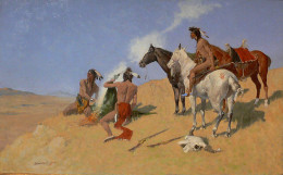Frederic Remington. The Smoke Signal, 1905, Amon Carter Museum. Public domain photo of painting from Wikipedia Commons.