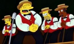 The Be Sharps. From left to right: Seymour Skinner, Barney Gumble, Homer Simpson, Apu Nahasapeemapetilon.