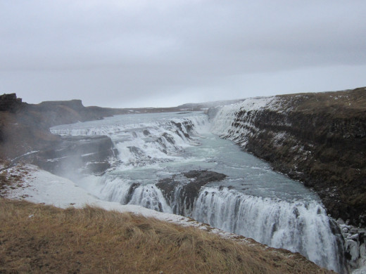 Gulfoss Waterfalls.Iceland is a country with lots of volcanoes and waterfalls that supplies hydro electric energy.