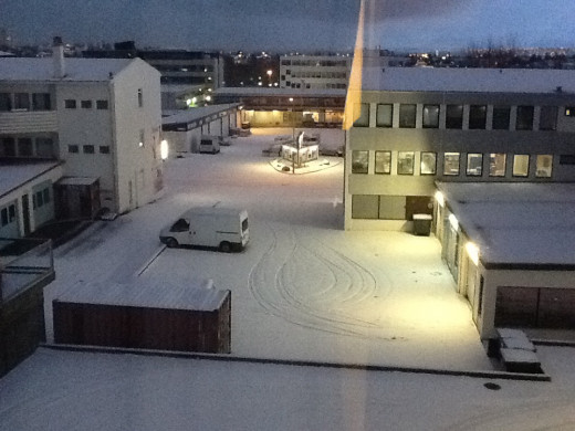 A view from my hotel room at the Arctic Hotel Reykjavic.Photo taken at 11 AM in the morning.Sunlight almost non existent in Iceland during winter.