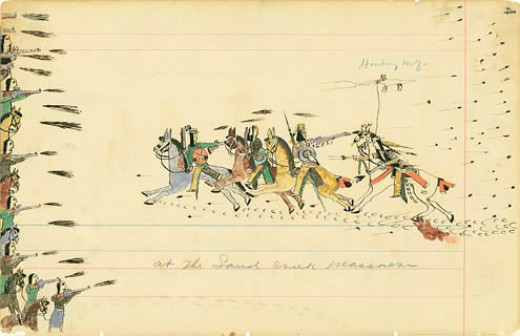 Depiction of the Sand Creek Massacre by Cheyenne eyewitness and artist Howling Wolf, 1875
