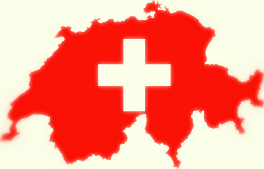 Swiss flag map