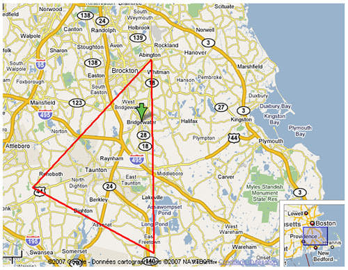 The Triangle encloses an area of about 200 square miles in Southeastern Massachusetts