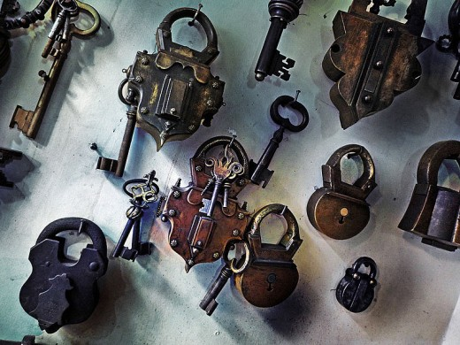 Ottoman style handmade padlocks on exhibit in Turkey.