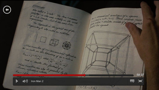 "This tesseract is not new to science fiction. You can read about a tesseract in ""A Wrinkle in Time"", a book for 4th and 5th graders. The sketch here, I screen captured via Netflix. The drawing is one version of a theoretical 4th dimensional hypercube"