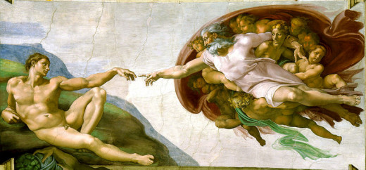 Michelangelo's depiction of God creating Man adorns the ceiling of the Sistine Chapel in Rome. It is part of a series of panels depicting stories from the book of Genesis, the first book of the Bible.