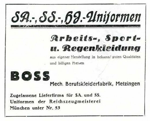 HUGO BOSS factory sign, 1933