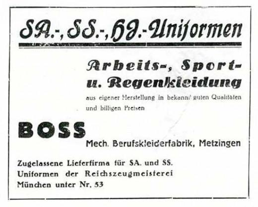 HUGO BOSS factory sign, 1933