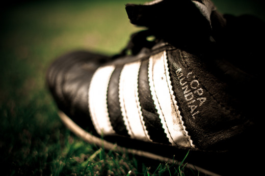 Adidas Copa Mundial with the famous stripes, created for the FIFA World Cup 1982