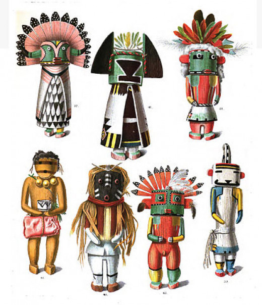 Drawings of kachina dolls, from an 1894 anthropology book, by Jesse Walter Fewkes