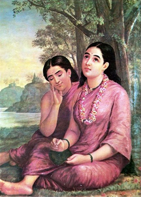 Shakuntala with Friend writing a letter to Dushyanta