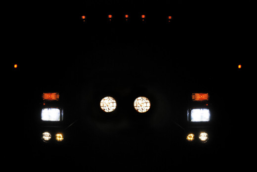 Brilliant Truck Lights in Rear View Mirror