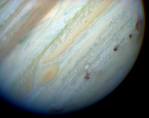 Comet Shoe Maker-Levy Impact Scars on Jupiter