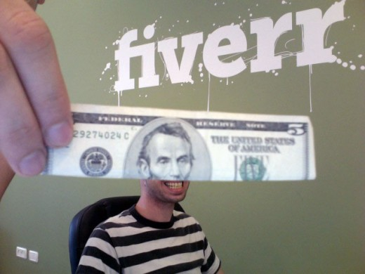 $5 bill and a person fun poster about fiverr.com the online services for making and saving money as a small business owner