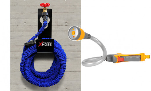 Storage Option for your XHose blue pocket hose on hanger mounted on house