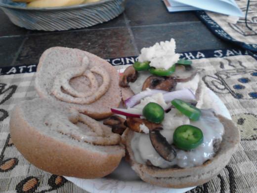 Bison, cheese, horseradish, jalapeno, mustard, raw onion