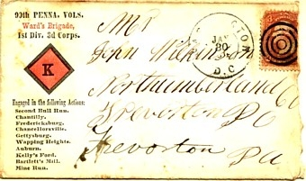 A soldier's envelope. Note the postage stamp, a requirement for the troops until 1864