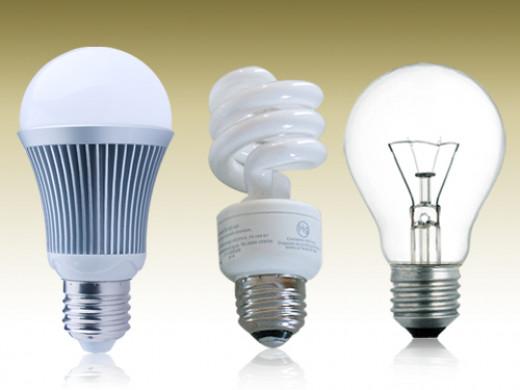 LED, CFL, Incandescent