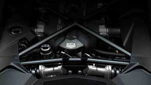 The engine inside the Lamborghini. http://www.lamborghini.com/en/home/