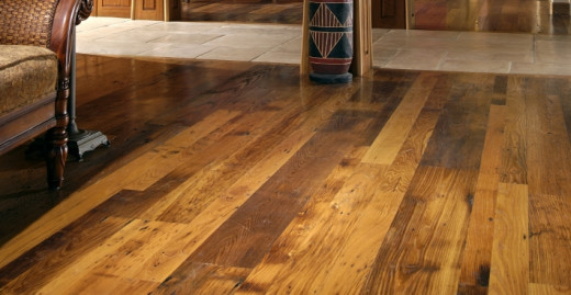 This flooring comes from reclaimed chestnut wood.