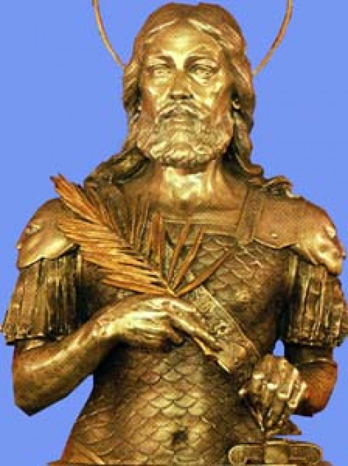 Photograph of a statue of Saint Acacius from an old holy card.