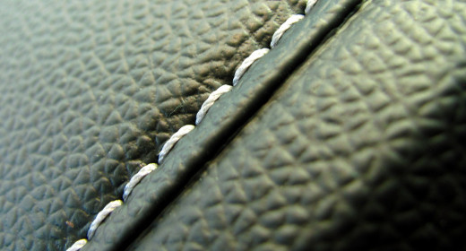 Close-up detail of stitching shows quality of construction.