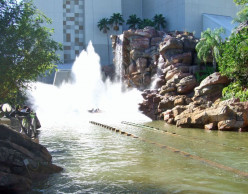 The flume splashes down following the huge drop