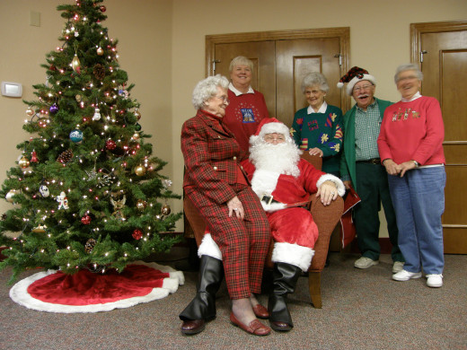 Santa Don, Elf Charlie, Tillie, Judy, Addie & Marge at Cookies with Santa