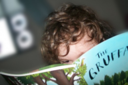 """Our daughter enjoying a """"Wild Book"""" we found at the park."""