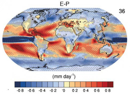 Precipitation minus evaporation, 2081-2100, from TFE1, Figure 2, of the AR5 Technical Summary.  (Panel 4.)