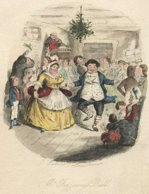"""Fezziwig's Christmas Party from """"A Christmas Carol"""" Illustrated by John Leech"""