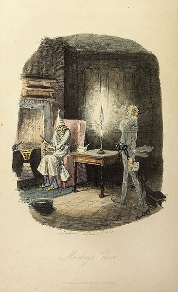 Scrooge Visited by the Ghost of Jacob Marley Illustrated by John Leech