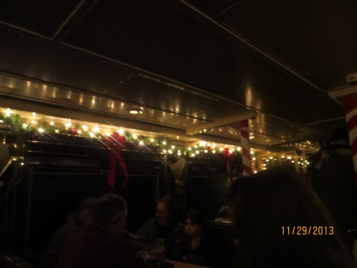 The inside of our train car (without my flash).