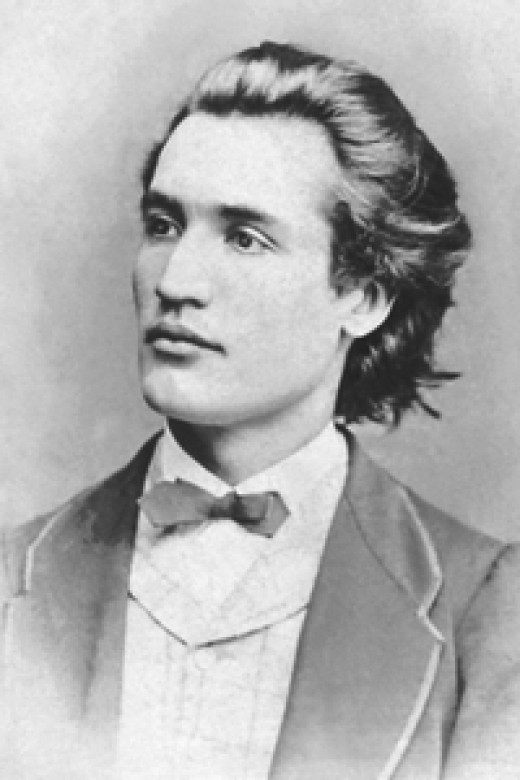 Portrait of Mihai Eminescu, age 19 - photograph taken by Jan Tomas (1841-1912) in Prague, 1869