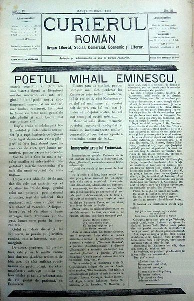 "The cover of ""Curierul Român"", Issue no. 21, June 20, 1889; Founder and Director: Ioniţă Scipione Bădescu (1847-1904).  Obiturary and memorial five days after his death."